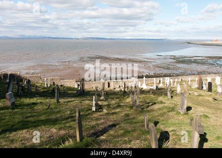 Heysham Lancashire, England with a cemetery overlooking the sea - Stock Photo