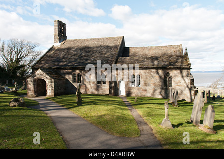 Heysham Lancashire, England with a cemetery  and church overlooking the sea - Stock Photo