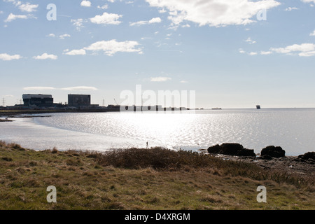 Heysham Lancashire, England with the power station silhouetted - Stock Photo