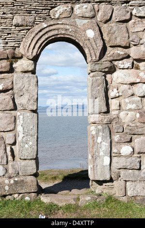 Heysham Lancashire, England an archway looking to the sea - Stock Photo