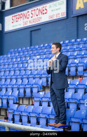 Oldham, UK. 20th March 2013. Oldham Athletic Football Club, Boundary Park reveal their new manager Lee Johnson, - Stock Photo