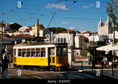 Tram in alfama's Portas do Sol - Stock Photo