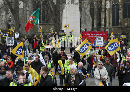London, UK. 20th March 2013. PCS union rally held by striking members outside the Houses of Parliament. Credit: - Stock Photo