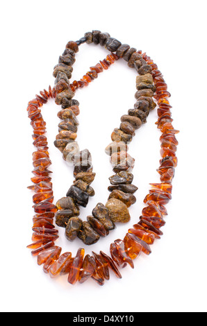 Closeup of two amber necklaces on white background - Stock Photo