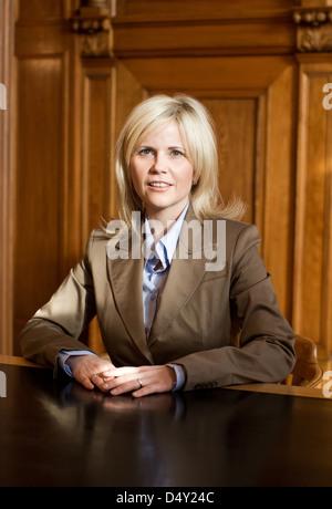 Michaela Schaffrath filming a guest appearance as a registrar on the set of ARD TV series 'Verbotene Liebe'. Bergisch - Stock Photo