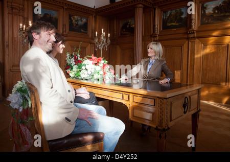 Michaela Schaffrath filming a guest appearance as a registrar on the set of ARD TV series 'Verbotene Liebe' Bergisch - Stock Photo