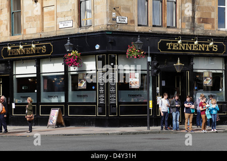 Tennent's Bar, in the West End of Glasgow, Scotland, UK - Stock Photo