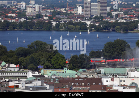 Hamburg, Germany, sailboats on the Outer Alster - Stock Photo