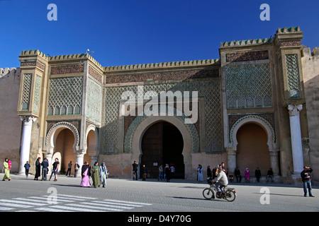 Africa, Morocco, Meknes. Bab el-Mansour gate. - Stock Photo
