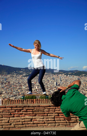 Photo with view from Castle de Montjuic, Barcelona, Spain - Stock Photo