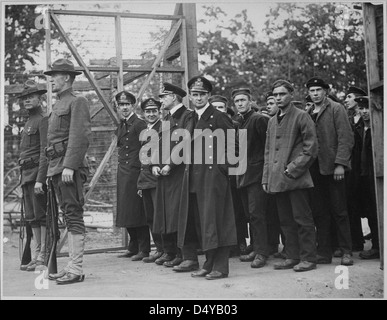 Officers and crew of the German submarine U.58, captured by the U.S.S. Fanning... - Stock Photo