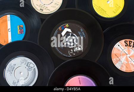 A collection of funk and soul music vinyl records (singles) from the 1970s - Stock Photo