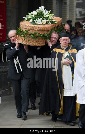 London, UK. 20th March 2013. Funeral of great train robber, Bruce Reynolds, St Bartholomew The Great, London, Wednesday - Stock Photo
