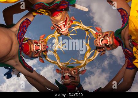 Dancers at the Paro festival, Bhutan - Stock Photo