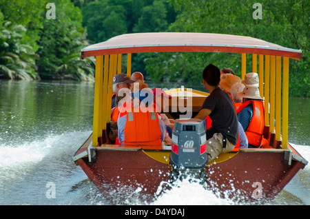 Borneo, Brunei. Tourist boat along mangrove forest along the Brunei river. Near the capital city of Bandar Seri - Stock Photo