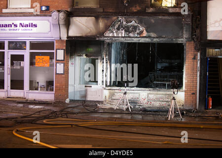 Tamworth, Staffordshire, UK. 20th March 2013. Fire rips through nightclub. Gutted interior of LaClique in Silver - Stock Photo