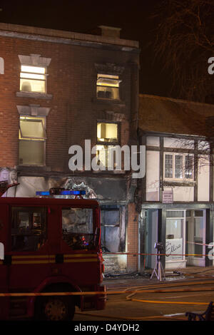 Tamworth, Staffordshire, UK. 20th March 2013. Fire rips through nightclub. The smoke blackened front of the building. - Stock Photo