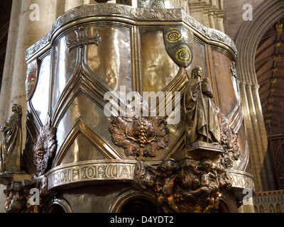 The Art Nouveau Pulpit in Ripon Cathedral North Yorkshire England - Stock Photo