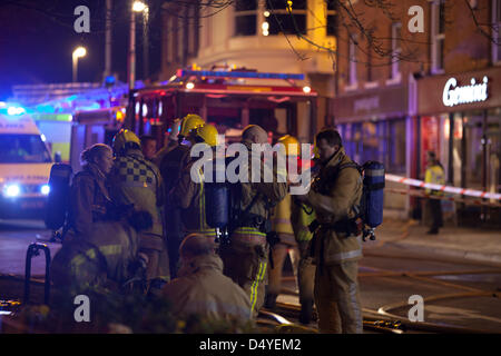 Tamworth, Staffordshire, UK. 20th March 2013. Fire rips through nightclub. Fire crews at work. Credit: Chris Gibson - Stock Photo