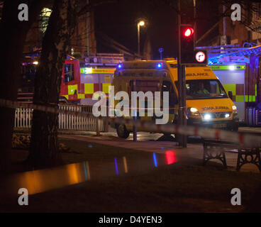 Tamworth, Staffordshire, UK. 20th March 2013. Fire rips through nightclub. Ambulance on standby at the scene of - Stock Photo