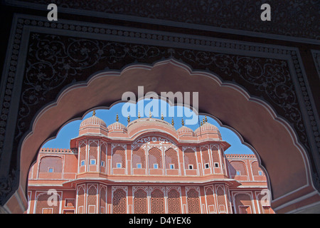 India, Jaipur. Chandra Mahal at Jaipur City Palace. - Stock Photo