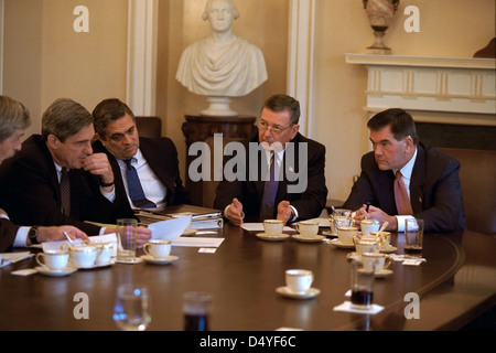 FBI Director Robert Mueller, CIA Director George Tenet, Attorney General John Ashcroft, and Homeland Security Director - Stock Photo