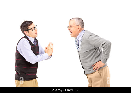Mature man shouting at a man who is begging isolated on white background - Stock Photo