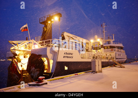 russian pelagic trawler fishing boat alferas out of murmansk tied up at Tromso harbour troms Norway europe - Stock Photo