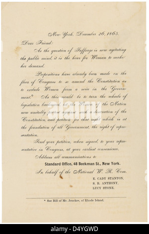 Form Letter from E. Cady Stanton, Susan B. Anthony, and Lucy Stone, 12/26/1865 - Stock Photo