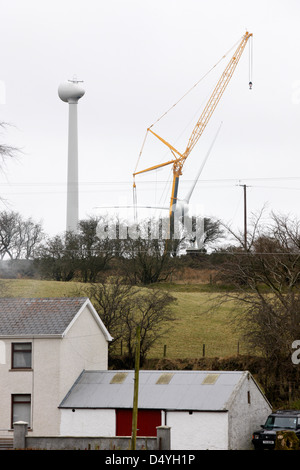 constructing a new windfarm in rural area of northern ireland uk - Stock Photo