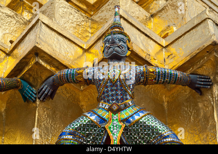 Thailand, Bangkok. The Grand Palace, established in 1782. The Upper Terrace monuments with mythological creature - Stock Photo