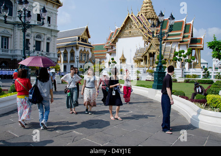 Thailand, Bangkok. The Grand Palace, established in 1782. Administrative halls and buildings behind main temple - Stock Photo