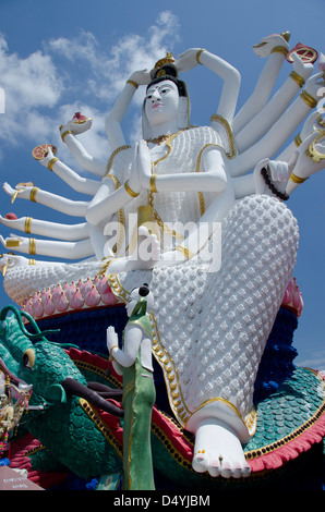 Thailand, Ko Samui (aka Koh Samui). Wat Plai Laem. Giant statue of Kwan Yin (aka Guanjin or Goddess of Mercy). - Stock Photo