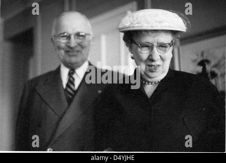 Photograph of Former President Harry S. Truman and Bess Truman, Smiling, ca. 1960 - Stock Photo