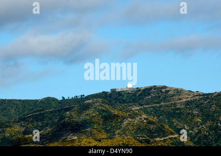 Radar station on the summit of Hawkins Hill in Wellington New Zealand NZ - Stock Photo