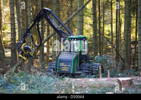 A forwarder harvesting timber in Grizedale Forest, Lake District, UK. - Stock Photo
