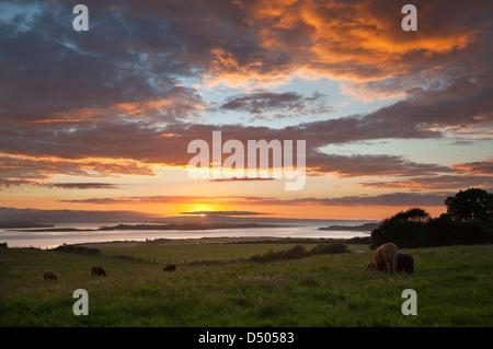 Sunset over the Moy estuary, County Sligo, Ireland. - Stock Photo