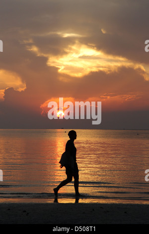 Sunset at Sairee Beach, Koh Tao, Thailand - Stock Photo