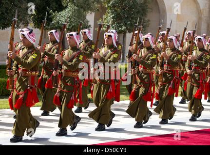 Military Honour Guard at King Abdullah's royal palce in Amman the capitol of Jordan - Stock Photo
