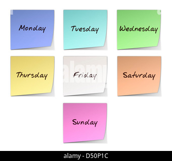 Color Post-it Notes With Handwritten Weekdays - Stock Photo