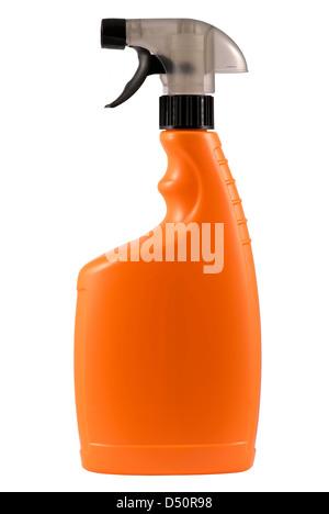 Orange plastic spray bottle against white background - Stock Photo