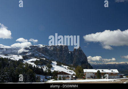 Compatsch, Italy, wintry mountains on the Seiser Alm - Stock Photo