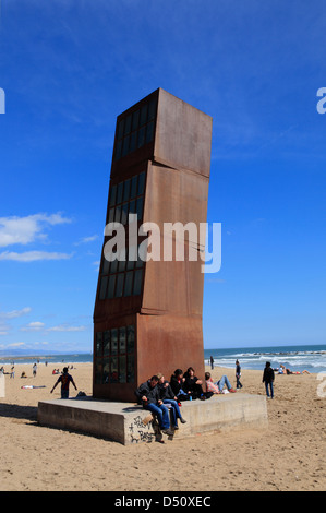 Citybeach La Barceloneta, Modern art sculpture called  HOMAGE to BARCELONA by Rebecca Horn, Barcelona, Spain - Stock Photo