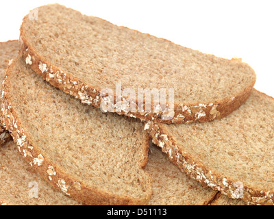 Sliced Fresh Brown Bread Isolated White Background With No People And A Clipping Path - Stock Photo
