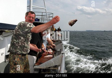 Wismar, Germany, man throws the deep sea fishing a fish head in the water - Stock Photo