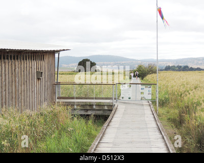 TAMAR ISLAND WETLANDS RESERVE on River Tamar, northern Tasmania with entrance to visitor Centre. Photo Tony Gale - Stock Photo