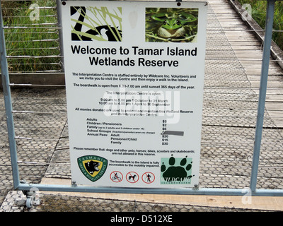 TAMAR ISLAND WETLANDS RESERVE on River Tamar, northern Tasmania. Photo Tony Gale - Stock Photo