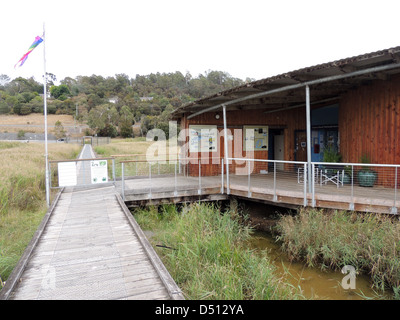 TAMAR ISLAND WETLANDS RESERVE on River Tamar, northern Tasmania showing entrance to Centre. Photo Tony Gale - Stock Photo