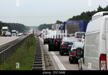 Magdeburg, Germany, jam on the A2 towards Berlin - Stock Photo