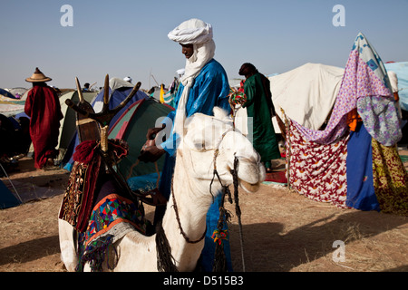 Wodaabe nomad from Niger packs his possessions on a camel during Gerewol festival near Ingal, Niger - Stock Photo